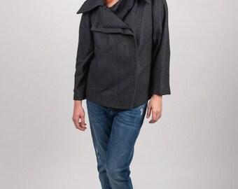 1990's Dark Grey Jacket – 90's Vintage Wool Geometric Blazer Winter Preppy Slouchy Mandarin Asymmetry Secretary Formal Coat Size L XL
