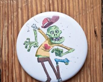 Zombie button / Zombie pinback / Zombie badge / stocking stuffer / Zombie badge