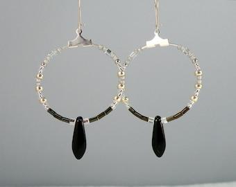 Silver Black Daggers Hoops, Handmade Hoop Dangle Earrings, Boho Chic Hippie Beadwork Statement Bohemian OOAK Unique Holiday Gift for Her