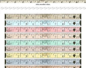 Printable wooden rulers / digital wood tape measures / printable measuring tape / digital collage sheet / scrapbooking embellishment