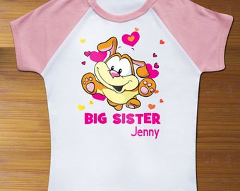 Big Sister Custom Name with Puppy Dog Toddler Shirt