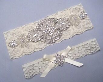 Crystal Rhinestone Wedding Garters, Keepsake and Toss Garter, White or Ivory Bridal Garter Set, Stretch Lace Custom Size Garter