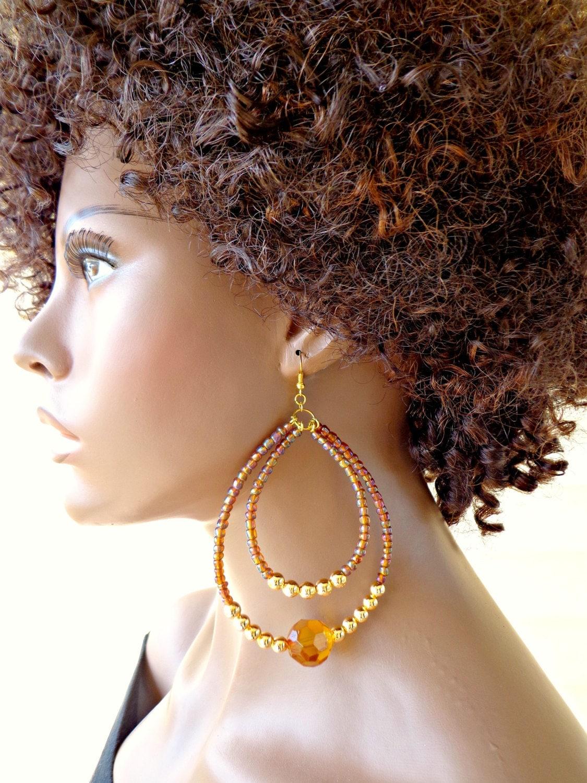 large hoop earrings double hoop earrings beaded earrings. Black Bedroom Furniture Sets. Home Design Ideas