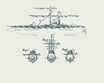 Retro Submarine Torpedo Boat Blueprint 8x10 Print