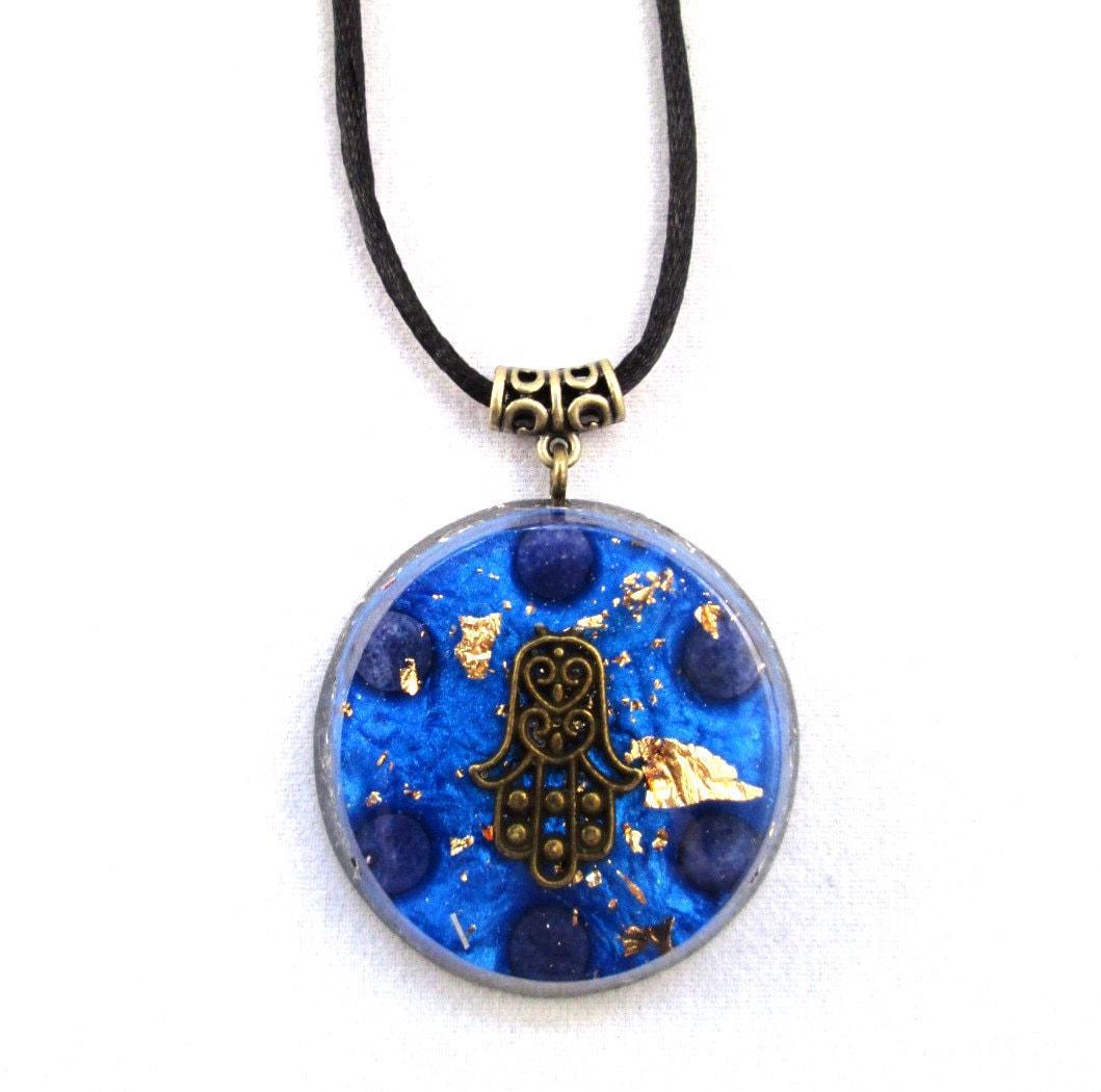 blue aventurine orgonite pendant large emf protection and