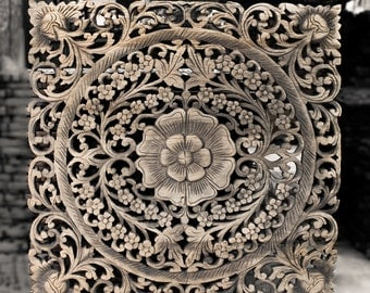 Decorative Wood Wall Panel. Traditional Floral Wood Carved Wall Hanging from Thailand. Feng shui Home. (2'x2' ft. Black wash colour)