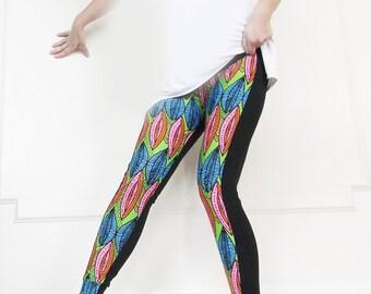 Leggings in Neon Colours Print , Yoga Women Wear, Slim Pants,Dance, Bike Wear, Jogging