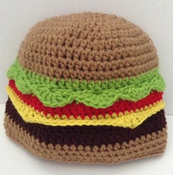 Crochet Pattern Novelty Hats : Crochet Novelty Cheesburger Hat