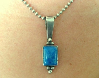 Unisex Vintage Sterling Pendant With Blue Sodalite - Vintage Sterling Silver 2.5mm Ball Chain