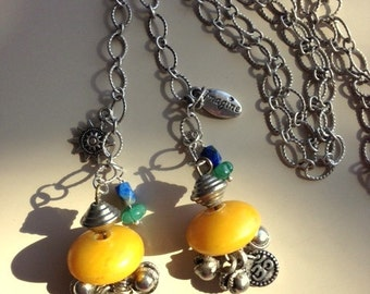 Amber Lariat Necklace or Copal Beads and Silver Charms Plus Lapis and Hand Carved Jade