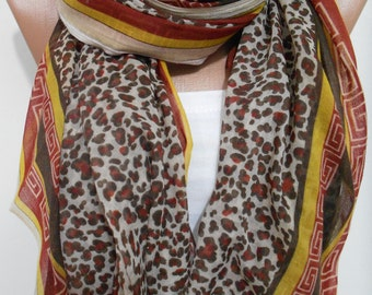 Leopard scarf shawl Animal print scarf Cowl scarf Cheetah scarf Lightweight scarf Women Cotton Scarf Christmas Gift Ideas For Her ScarfClub