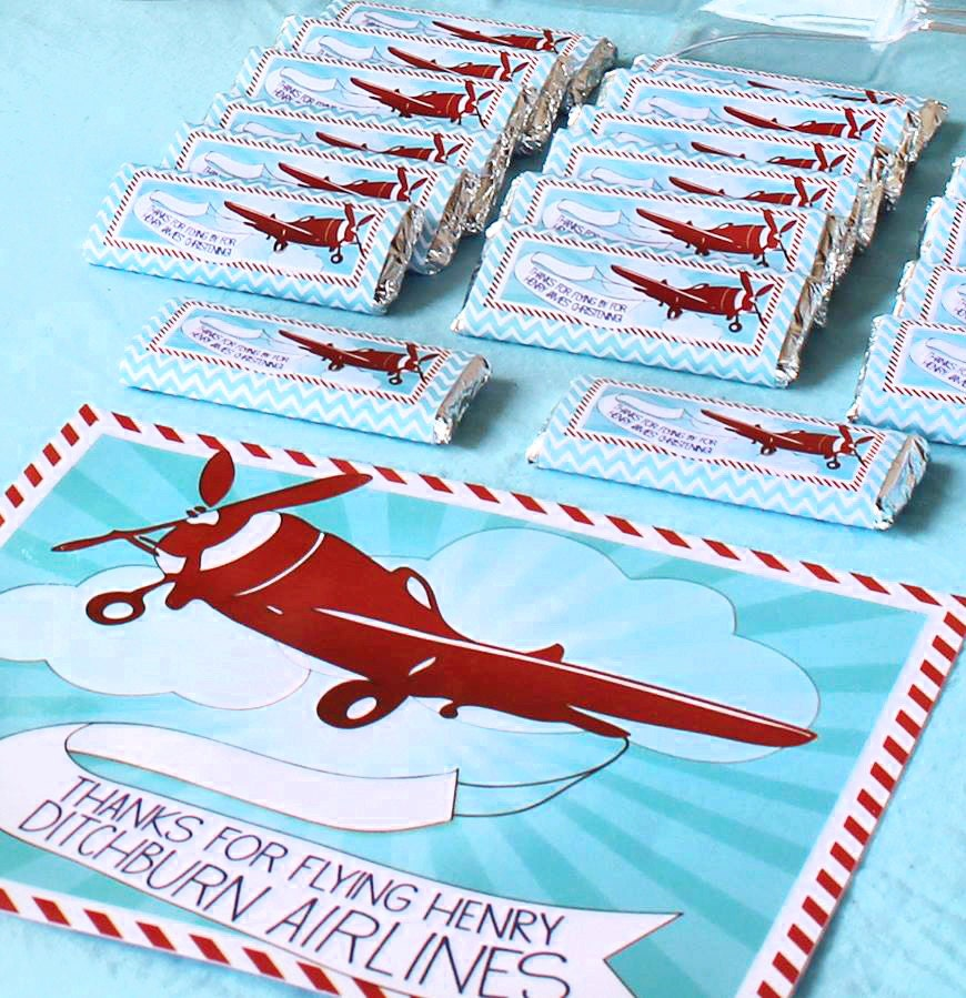 Airplane Birthday Party Favor Tags: Printable Candy Bar Labels Party Favors Vintage Airplane