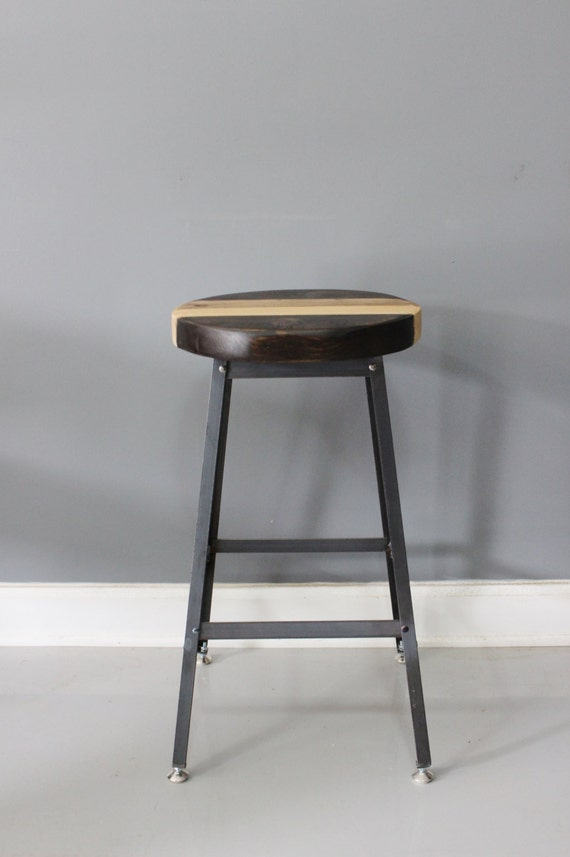 Round Barstool Industrial Seating Modern Stool Bar By Dendroco