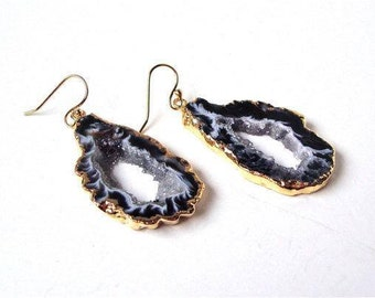 Agate stalactite Slice Earrings with 24k gold electroplated edges