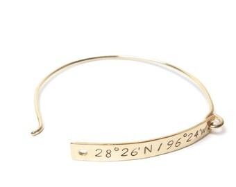 14K gold filled Personalized Latitude & Longitude Bracelet, Graduation Gift, Coordinate Bracelet, Custom Gold Bracelet, Personalized Gift