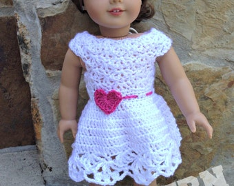 "Pattern for Hearts and Lace dress for 18"" dolls and American girl dolls"