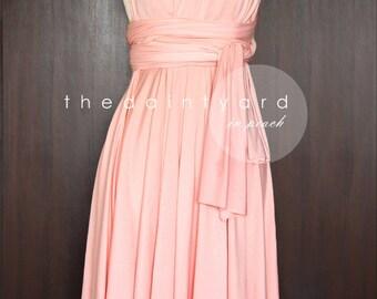 Short Straight Hem Peach Infinity Dress Multiway Dress Bridesmaid Dress Convertible Dress Wrap Dress Wedding Dress Prom Dress Twist Wrap