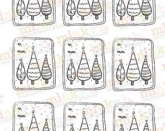 """INSTANT DOWNLOAD Digital Stamp """"Whimsical Christmas Gift Tags"""" by Minky B Designs"""