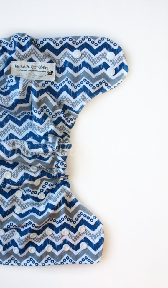 Blue Chevron Cloth Diaper
