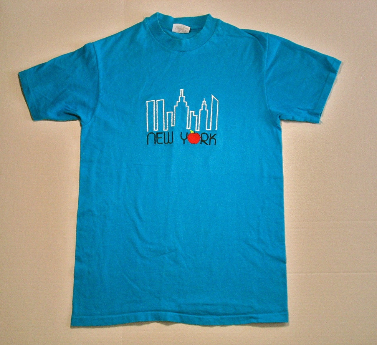 S new york city t shirt embroidered big apple turquoise blue