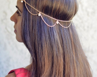 THE GATSBY - sale! Draped Cascading Pearl Hair Chain Jewelry Gold Hippie Boho Wedding Bridal Prom Grecian Godess Bridesmaid Spring Christmas