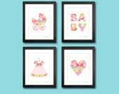 Baby Girl Art Prints for Playroom or Nursery - Set of 4 Kids Wall Art 8 x 10 Prints Carriage Dress Heart Typography