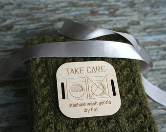 50 - 2 x 2 Wood Care Tags - Wood Clothing Tags