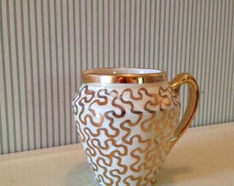 Vintage Gold Squiggle Pattern Saddler Cream Jug