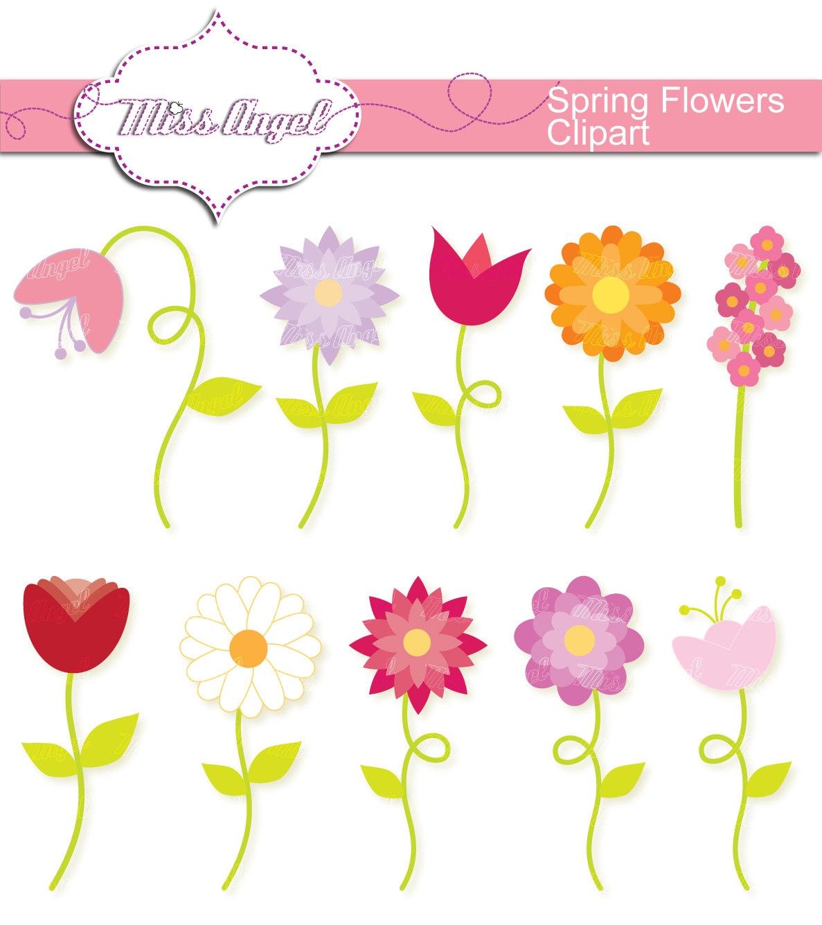 Spring Flowers CLIPART SET 10 Digital Flowers. 6 clip