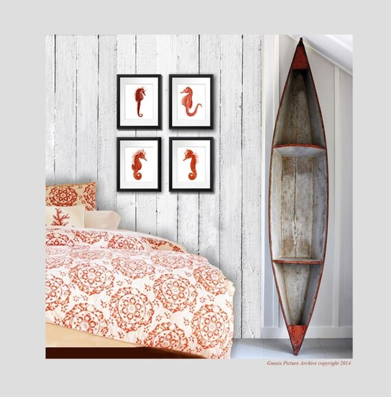 Beach bathroom decor art print red by gnosispicturearchive for Bathroom decor etsy