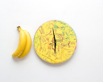Large Wall Clock, Yellow Wall Clock, Unique Wall Clock, Kitchen Wall Clock, Hand Painted Clock