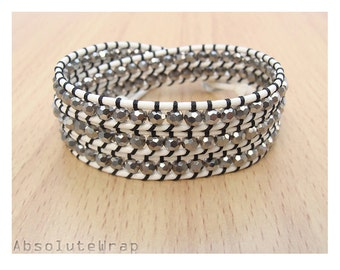 Silver crystal wrap bracelet on soft white polyester cord, triple  wrap bracelet, crystal wrap bracelet, black thread