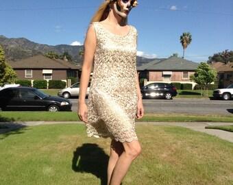1990s R&M Richards Gold A-Line Dress