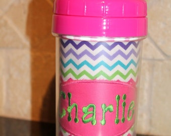 Girly Chevron Sippy Cup - Personalized w/ Name or Monogram - SIPPY or STRAW Top options
