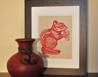Animal Baby Shower - Woodland Animal Wall Art Print - Red Wall Art - Chipmunk Print - Art for Nursery - Whimsical Animal Art