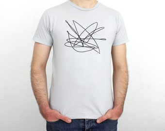Scribble hand printed T-Shirt light grey / black - Men