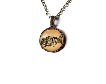 Birds on a branch Bird pendant Cute necklace Animal jewelry NW7