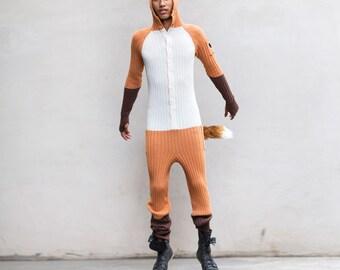 FOX Festival PJ's - Fantastic Fox Knit Winter Jumpsuit for Men & Women - Three Pockets - Tail - Knit Pajamas - Fox Kigurumi - Blamo -  Gift
