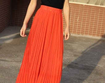 Top quality red Pleated skirt Maxi Skirt Long Skirt short skirt Maxi Dress chiffon skirt long beach skirt 12 colors