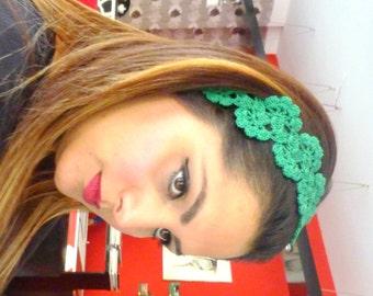 Hair Fashion, Hair Accessories Handcrocheted Headband, Summer Headband, Green hairband