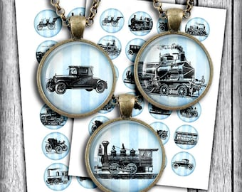 Old Trains and Cars Digital Collage Sheet  25mm, 1 inch, 1.5 inch Circle Printable Images for Pendants, Bottle caps