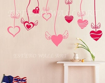 "Removable wall Stickers ""Flying Hearts"", Wall Decals , Nursery wall decal, home decor, girls room decal"
