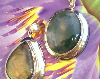Gorgeous Large Moss Agate or Gold & Green Labradorite Pendant. Sterling Silver, free US ship 58.40 ea