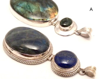Large Labradorite Pendant. Sterling Silver, Blue Lapis or Green Tourmaline. free US ship 89.00 ea