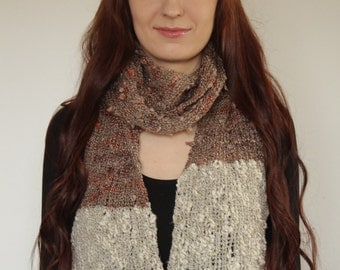 SALE! Long hand knitted womens scarf for winter acryl 2,20cm brown and grey