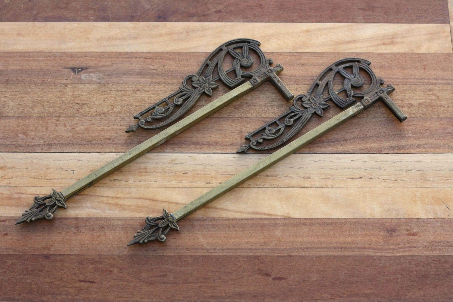 Vintage Art Deco Swing Arm Curtain Rods Adjustable Cast Iron