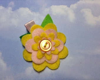 Yellow and Pink Felt Flower Hair Clip