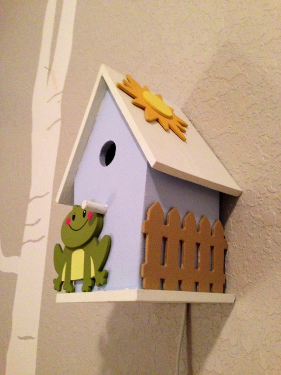 Items similar to bird house night light down by the bay frog themed nursery nature inspired - Birdhouse nightlight ...