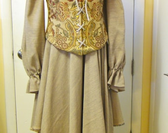 Taupe/Gold Floral & Gold Chenille Reversible Long Line Bodice/Corset, Size M