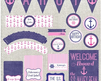 Navy and Pink Nautical Birthday Package! Personalized Printable Nautical Birthday Party